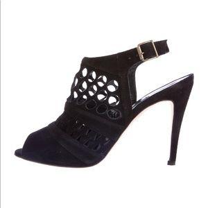 Manolo Blahnik suede cutout heel